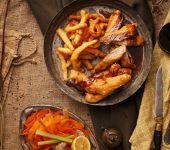 Шаран темпура и хрупкави моркови с терияки сос